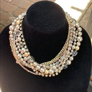 Loft multi strand pear and crystal necklace.
